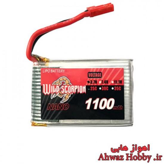 باتري 3.7 ولت تک سل 1100 ميلي آمپر 1 سل 25C