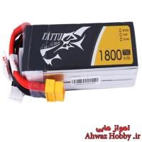 باتری 4 سل 14.8 ولت 1800 ميلي آمپر 75C مخصوص FPV Racing ساخت Tattu