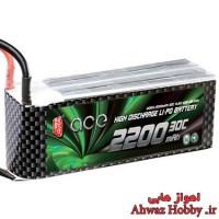 باتری 4 سل 14.8 ولت 2200 ميلي آمپر 30C لیتیوم پلیمر ساخت Gens Ace