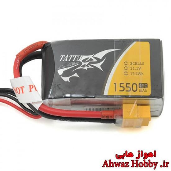 باتری لیتیوم پلیمر 3 سل 1550mAh با تخلیه دیس شارژ 45C ساخت Tattu