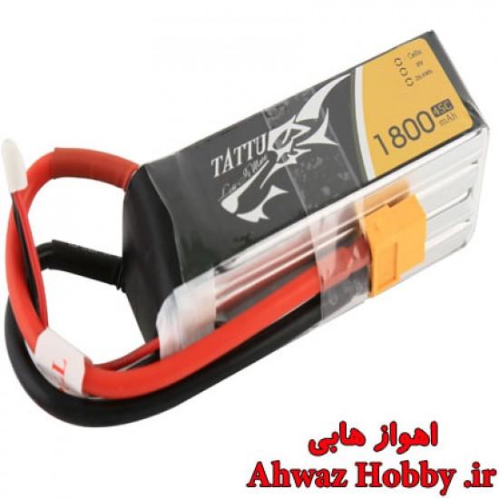 باتری Tattu لیتیوم پلیمر 3 سل - 1800mah و دیس شارژ 45C