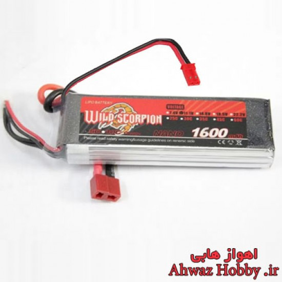 باتری لیتیوم پلیمر 3 سل 1600mAh و تخلیه دیس شارژ 25C ساخت Wild Scorpion دارای 2 کانکتور مخصوص مولتی روتور و رادیو کنترل