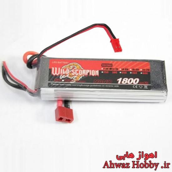 باتری لیتیوم پلیمر 3 سل 1800mAh با تخلیه دیس شارژ 45C ساخت Wild Scorpion دارای دو کانکتور مخصوص مولتی روتور و رادیو کنترل