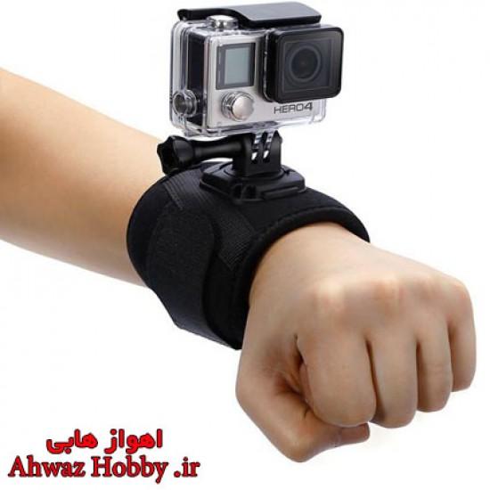 مچ بند و بازوبند دوربین نگه دارنده الاستیکی کشی 360 درجه دوربین مخصوص بستن انواع دوربین گوپرو و اسپرت کمرا روی مچ و بازو