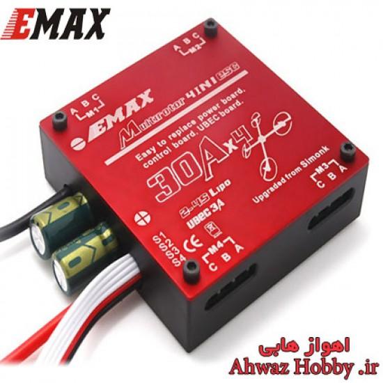 اسپید کنترل 30 آمپر Emax-Simon مدل 4در1 ایمکس اورجینال ساپورت باتری 2سل تا 4سل