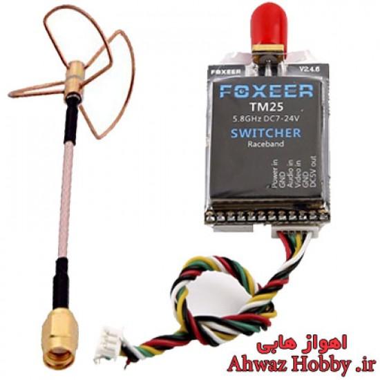 فرستنده بیسیم تصویر و صدا 25/200/600mw سه حالته 5.8 گیگاهرتز مدل Foxeer TM25 مینی 40 کانال با آنتن شبدر ساخت شرکت FOXEER